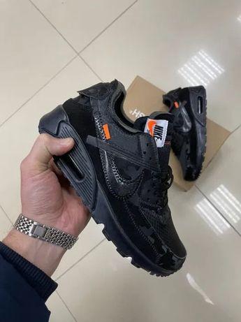 Мужские Кроссовки Nike Air Max 90 OFF-WHITE Black Reflection Новинка