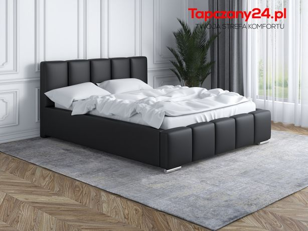 Łóżko sypialniane tapicerowane Łoże Lea +stelaż +pojemnik na pościel