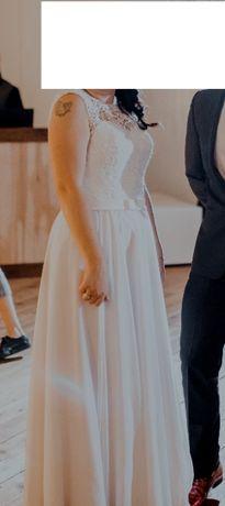 suknia ślubna z gorsetem + narzutka