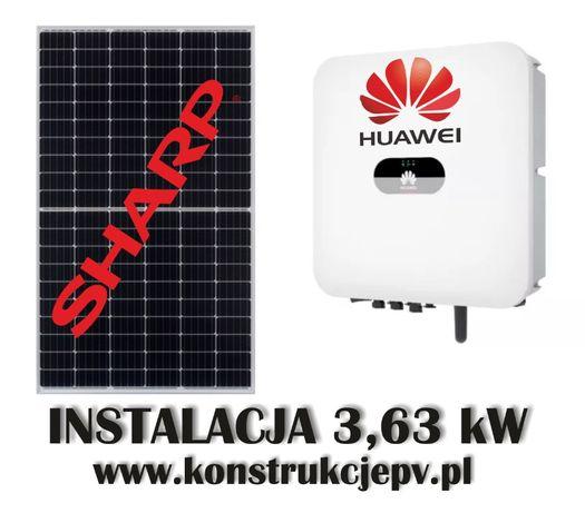 Instalacja fotowoltaiczna 3,63 kW Sharp Huawei Panele