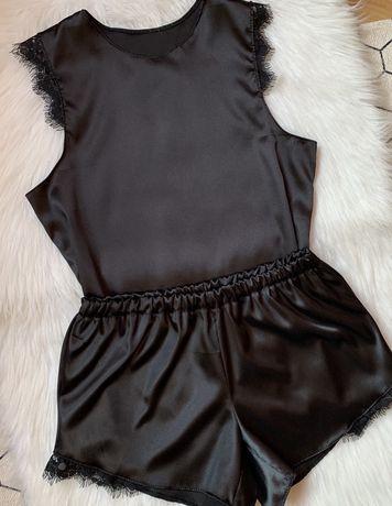 Piżama czarna satynowa 36 S piżamka z koronka damska bielizna nocna