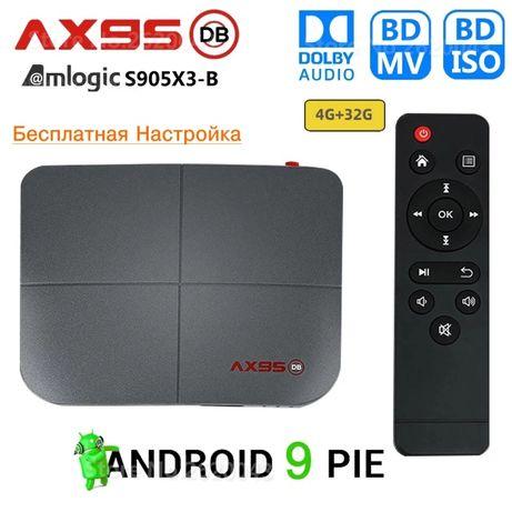 Приставка Смарт-ТВ AX95 DB 4GB/32GB (S905X3-B) ANDROID 9.0 Настроена