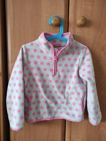 Bluza polar szara z różowym 110 4 latka