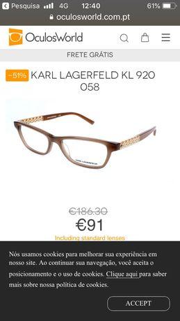 Armação de óculos Karl Largafeld NOVA sem uso