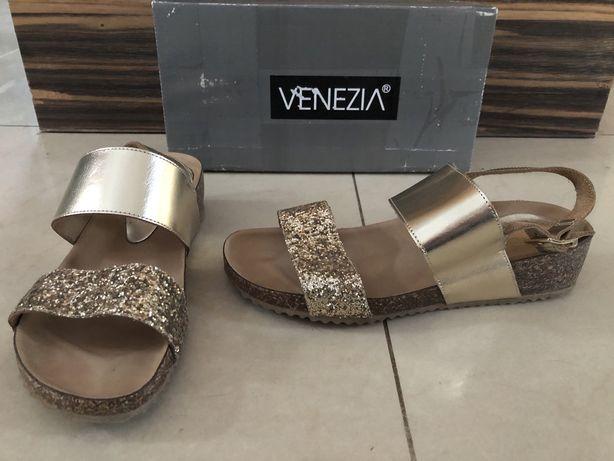 Nowe skórzane na korku zlote sandały VENEZIA roz 38