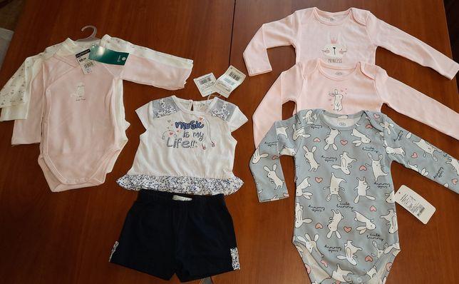 Одежда для девочки 0-12 мес., кофта, шорты, боди, человечки, пинетки