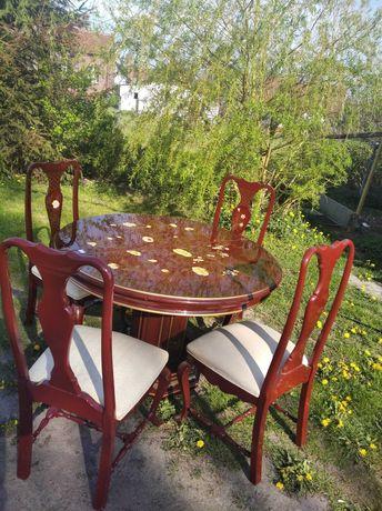 Bajeczny Stół + 4 krzesła ręcznie malowany