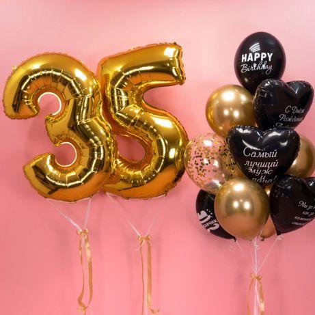 Цифры размером 100см с гелием на день рождения ,гелиевые шары