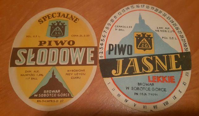 2 okrągłe etykiety z Browaru Sobótka