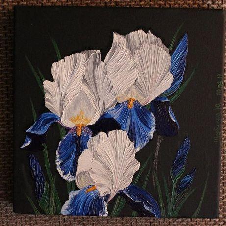 Картина маслом цветы ирисы