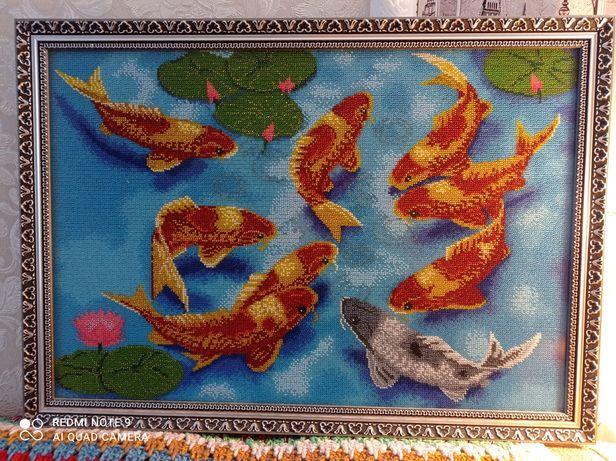 Картина бисером Рыбки кои