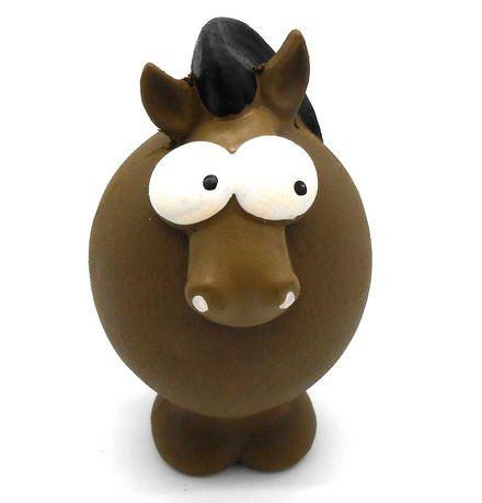 Zabawka gumowa lateksowa piszczałka dla psa gryzak koń brązowy 11cm