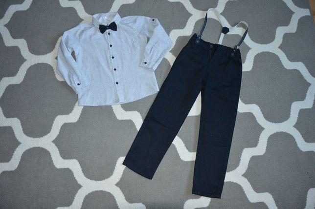 Spodnie na szelkach slim,koszula z długim rękawem i muszką r. 122 NOWE