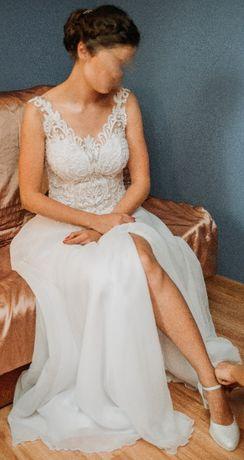 Suknia ślubna + welon rozm 38