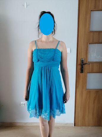 Niebieska sukienka na cienkich ramiączkach r. 38 40 42