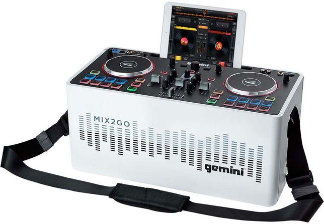 Mikser DJ GEMINI MIX2GO z Nagłośnieniem, Oświeltleniem LED, BLUETOOTH