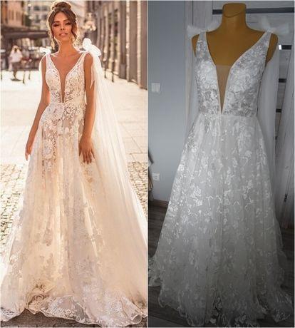 Nowa koronkowa suknia ślubna litera A głębokim dekoltem V r. 40 BOHO l