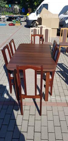HIT! Stół rozkładany + 6 krzeseł, orzech olcha sonoma biały, TRANS 0zł
