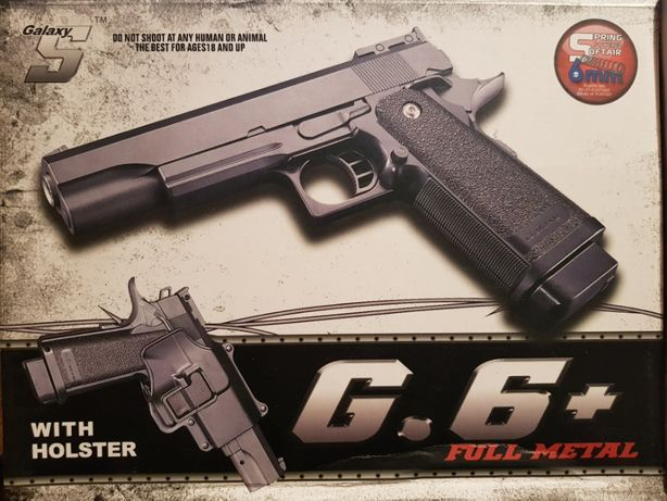 Metalowy PISTOLET G6+ NA KULKI Z KABURĄ 6mm + tarcze gratis F.VAT
