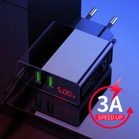 Зарядка USB 3 порта ЮСБ 5V 3A сетевое зарядное устройство LED дисплей