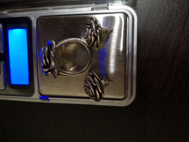 Серебро набор кольцо серёжки