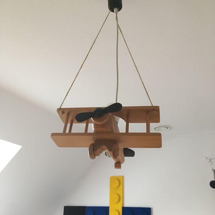 Drewniana lampa samolot do pokoju dziecięcego sufitowa Komorniki - image 1