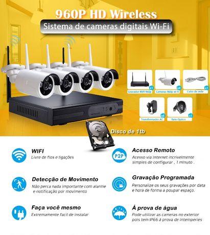 Sistema wifi 4 cameras HD 960p 1tb video vigilancia sem fios wireless