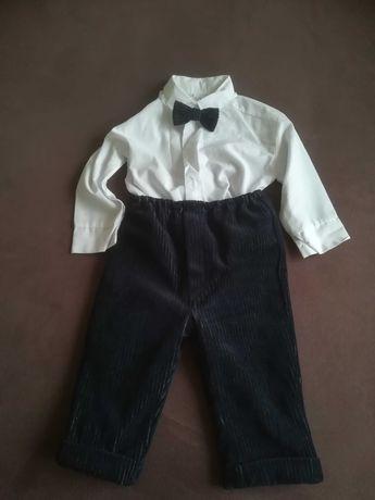Komplet na chrzest dla chłopca (garnitur, koszula, mucha) 74