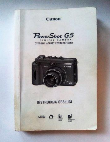 Canon G5 instrukcja w języku polskim oryginalna Canon G3 G6 UNIKAT !!!