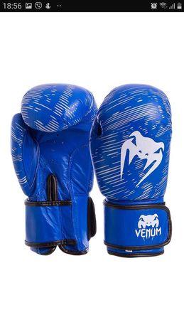 Боксерские перчатки VENUM кожаные на липучке синие, 12 унций