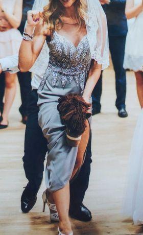 sukienka długa szara maxi z kamieniami rozmiar 36