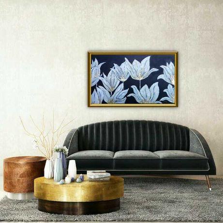 Obraz ręcznie malowany kwiaty lilie nowoczesny prezent święta