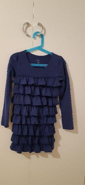 Granatowa bawełniana sukienka dla dziewczynki 122-128 cm