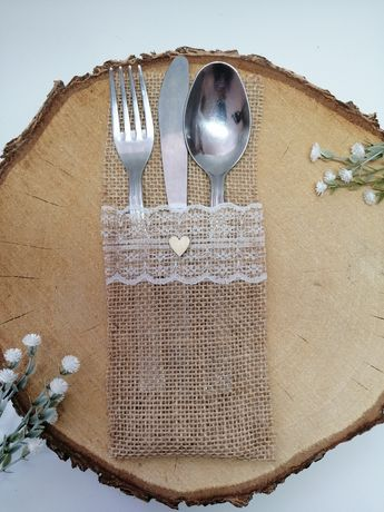 Etui na sztućce z juty jutowy pokrowiec ślub dekoracja stołu ślubne