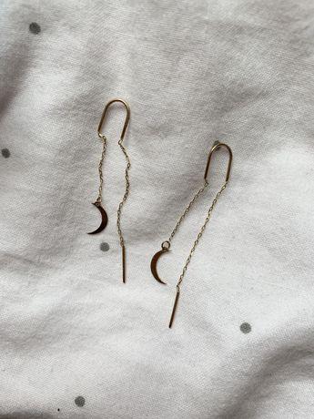 Kolczyki wiszące przewlekane księżyc srebro pozłacane złoto 925