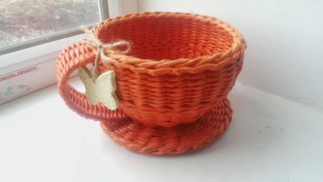 Плетена чашка , цукерниця