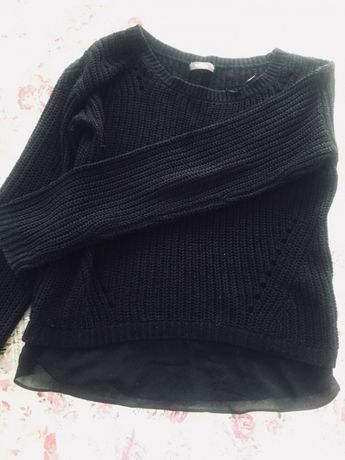 Czarny sweter sweterek nowy falbanka xs s 34 36 c&a