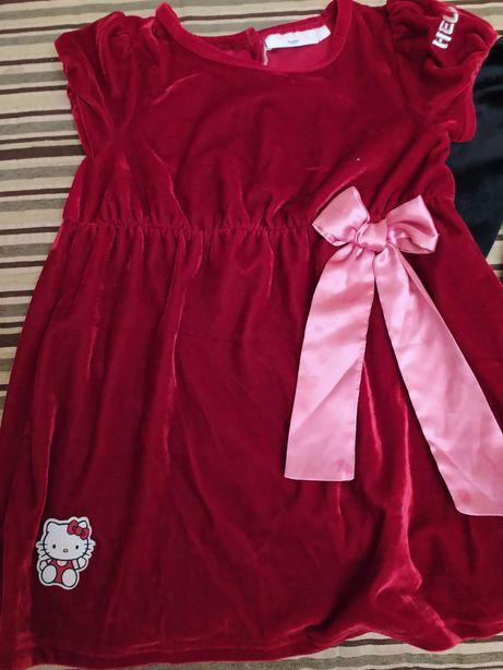 Бархатное платье Hello Kitty 110-116(3-5лет)