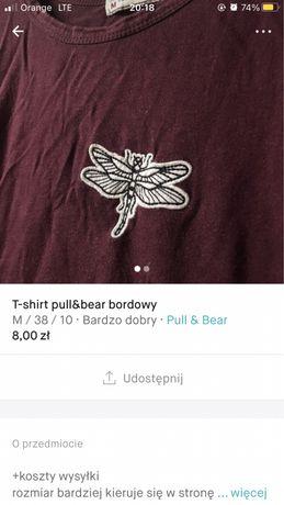 Koszulka pull&bear bordowa