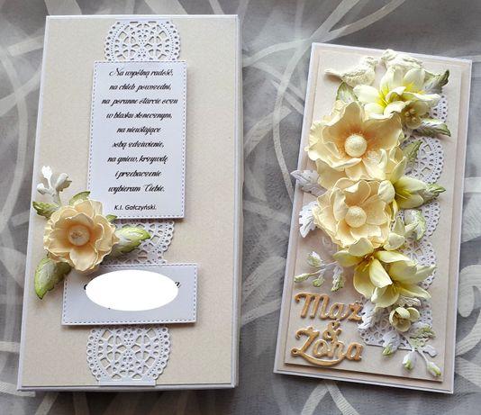 Kartka na ślub z kwiatami ręcznie robionymi
