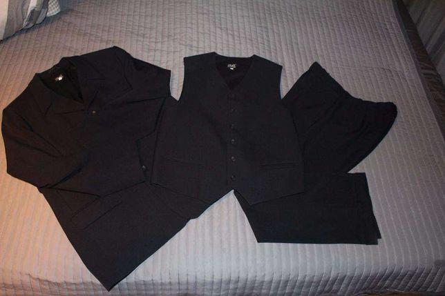 Czarny męski 3 częściowy garnitur - rozmiar L