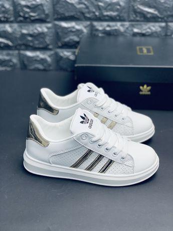 Кожаные Кроссовки Adidas Superstar Gold Адидас суперстар белые кросовк