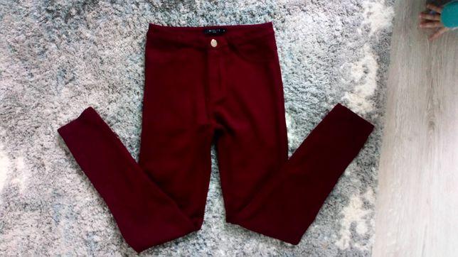 Spodnie rurki treginsy leginsy mohito xs 34 bordowe wysoki stan