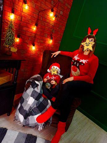 Свитер светр  с оленями фемили лук новогодний мама сын