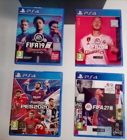 Jogos FIFA 19, 20 e 21 + PES20 para PS4