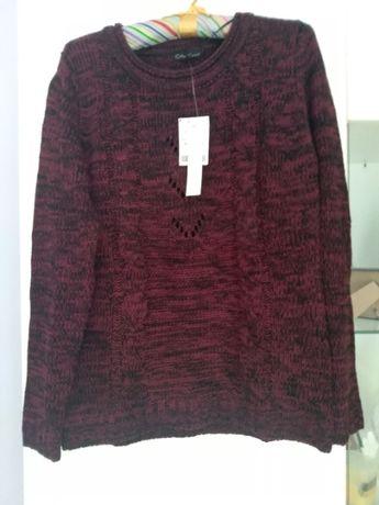 Sweter bordowo-czarny rozmiar M