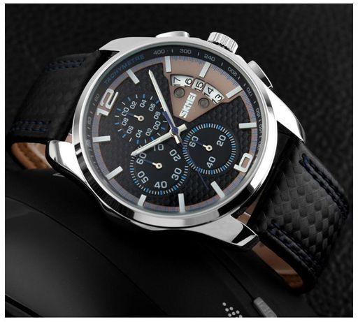 Zegarek męski SKÓRZANY wodoodporny SKMEI elegancja