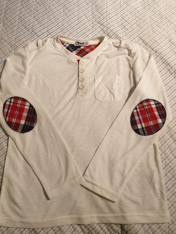 Bluzka biała krata długi rękaw 134