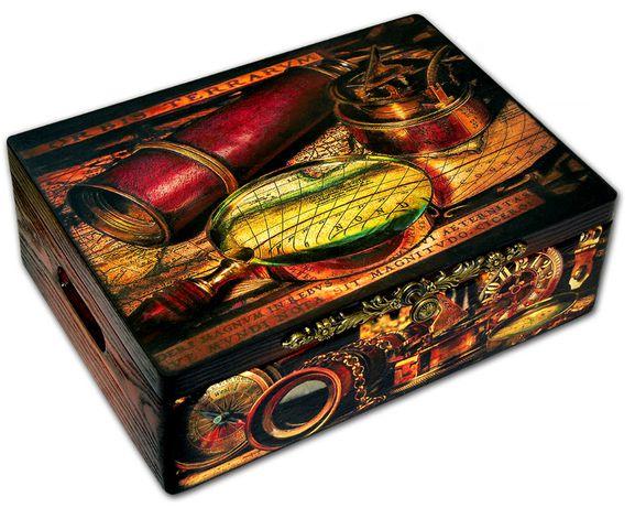 DUŻA SKRZYNIA PODRÓŻNIKA drewniany kufer 40x30