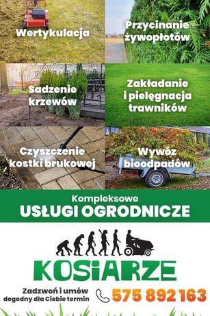 Koszenie, czyszczenie kostki, przycinanie żywopłotów, trawniki z rolki